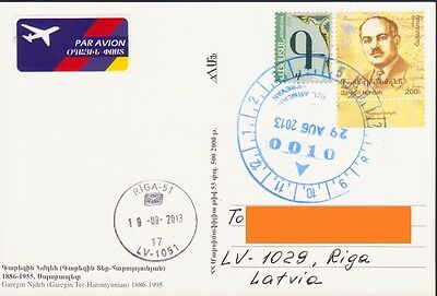 Armenia Stamps Armenia Airmail Card To Latvia Heroe Nzhdeh Military R1364 A Plastic Case Is Compartmentalized For Safe Storage