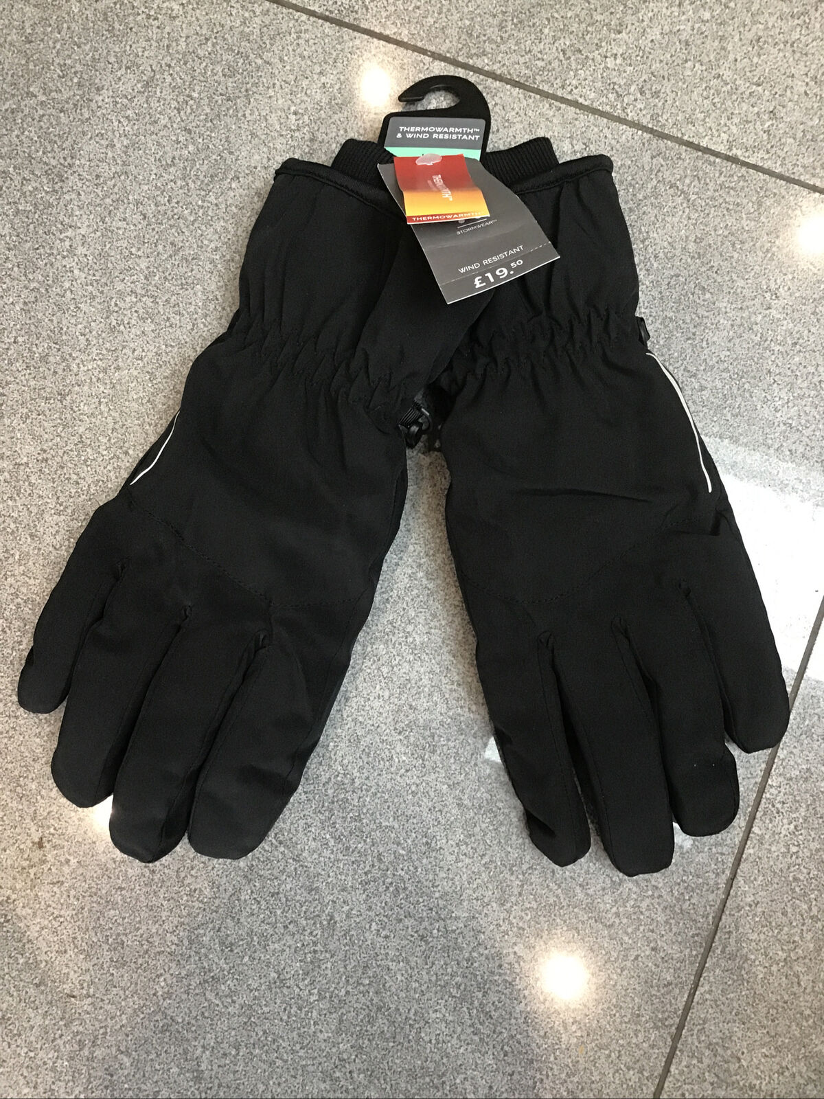 M&S Mens Black Thermowarmth & Wind Resistant Gloves L/XL Bnwt Rrp