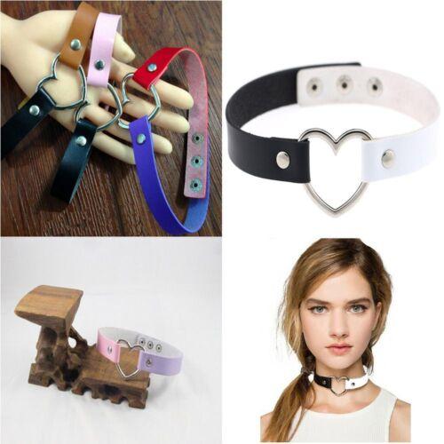 Fashion Goth Funky Rivet Punk Collier en cuir tour de cou collier cœur