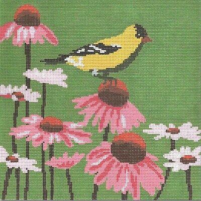 Goldfinch Needlepoint Pillow DIY Canvas