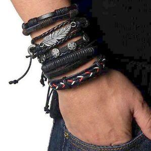 Bracciale-da-uomo-in-pelle-cuoio-set-5-braccialetti-con-metallo-corda-polsino-in