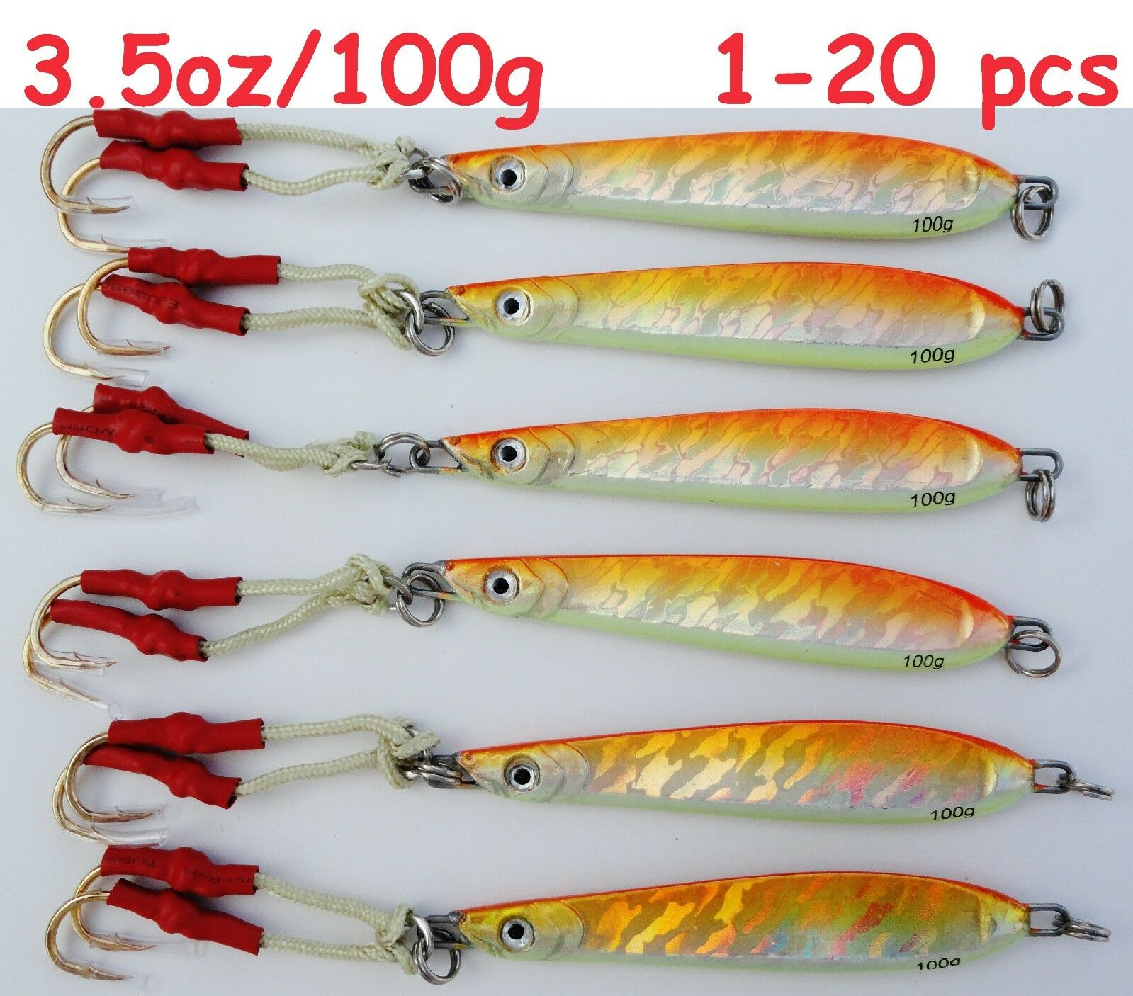 1 20 Pieces Knife jig 3.5oz100g arancia verdeical Butterfly Saltwater Lures B