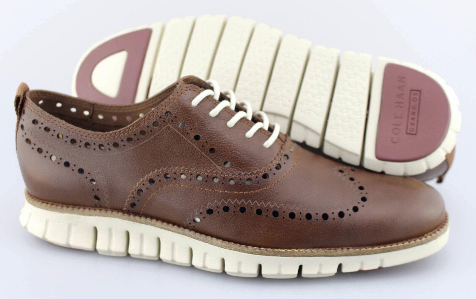Men's COLE HAAN 'ZeroGrand Open II' Brown Leather Wingtip Oxfords US 9.5 - D
