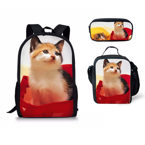 Schooltas Print Set Cat Koeler Backpack Bookbag Lunchbag Etui Lovely k8n0OwP