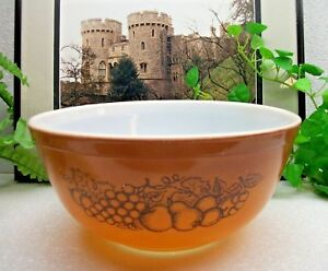 Pyrex Glass Apple Pear Grape Fruit OLD ORCHARD Mixing Serving Bowl ...
