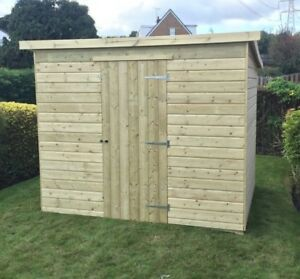 image is loading garden shed 7x6 pent tanalised wooden hut pressure - Garden Sheds 7x6