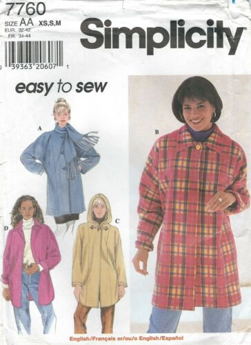 Simplicity 7760 Misses/' Coat 6 to 16   Sewing Pattern