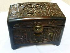 Vintage Antique Chinese Hand Carved Camphor Wood Box
