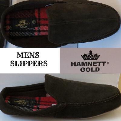 HAMNETT GOLD SIZE 8 MENS PLAIN BLACK  MULE SLIPPERS SLIP ON BOXED