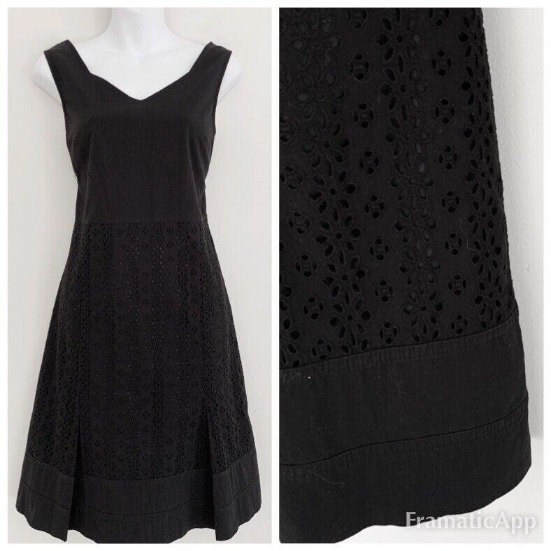 OSCAR DE LA RENTA damen Dress Sz 10P schwarz Sleeveless Eyelet A-Line Pleats