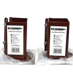 BOLT-DOWN-FENCE-POST-SUPPORTS-TWIN-PACK-100mm-x-100mm-BROWN-POWDER-COATED