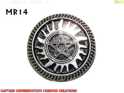 Steampunk pin badge brooch gothic silver good pentacle pentagram pagan wicca