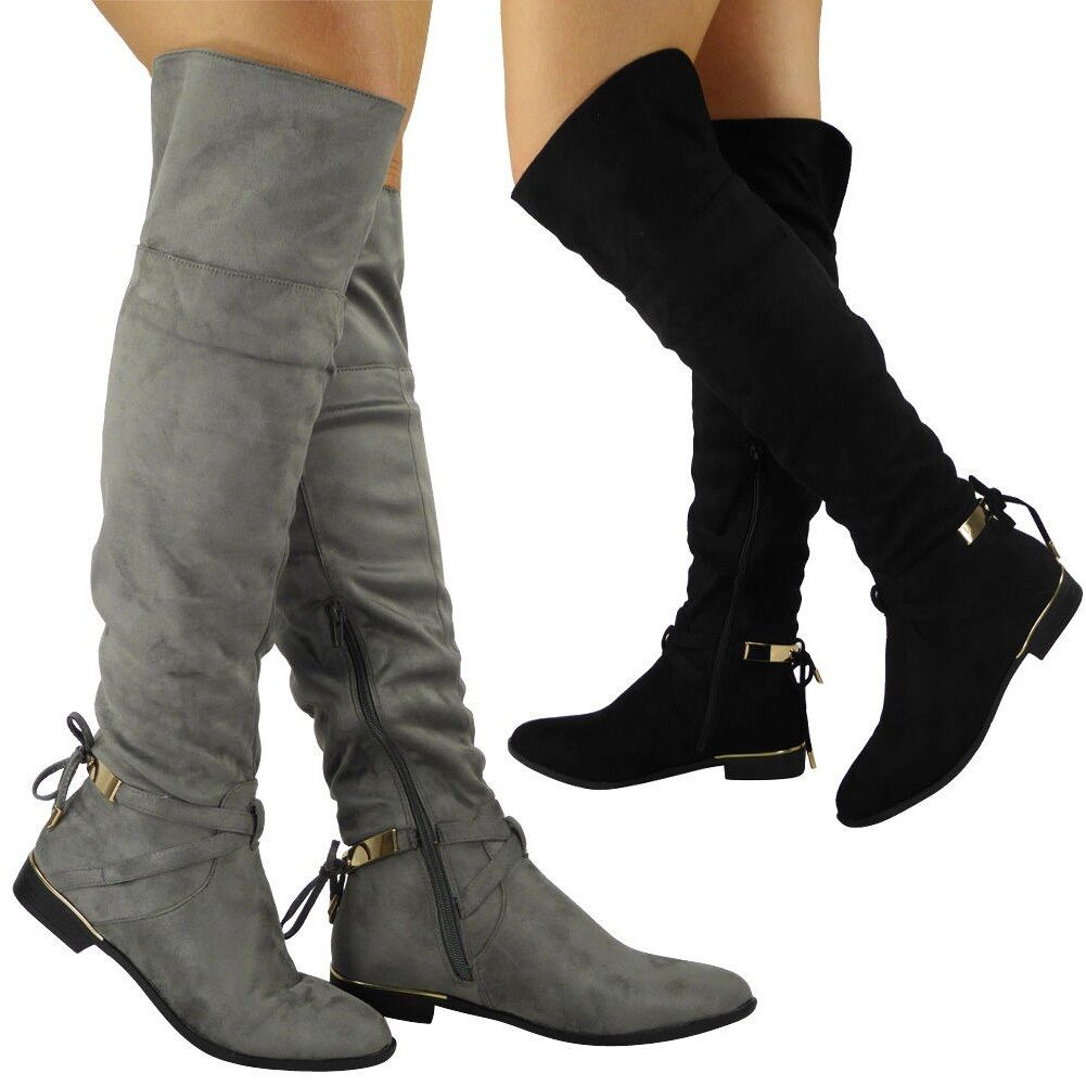 Womens Over The Knee Boots Ladies Stretch Long Thigh High Low Heel Shoes Size