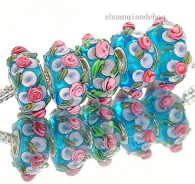 5pcs  Silver MURANO GLASS BEAD LAMPWORK fit European Charm Bracelet a516