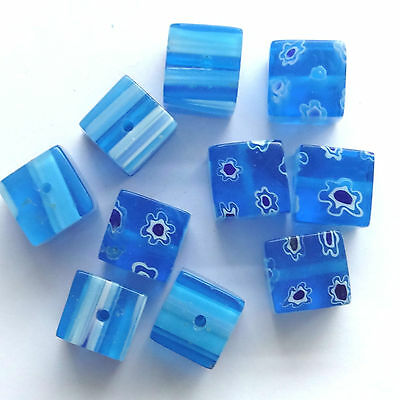 40 Blue Millefiori Glass 10MM Cube Beads Jewellery making