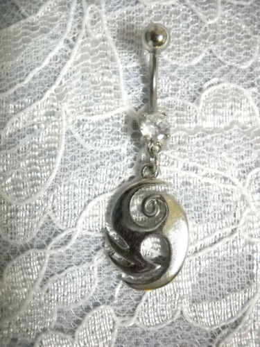 ISLAND TRIBAL SWIRL ART TATTOO w CLEAR CZ BELLY RING