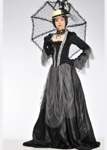 bfd75823f Details about Womens Black and Grey Victorian Lady Costume INCLUDES DRESS  ONLY