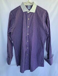 Brooks-Brothers-French-Cuffs-Shirt-Long-Sleeve-Men-039-s-Sz-16-32-Slim-Fit-USA-Made