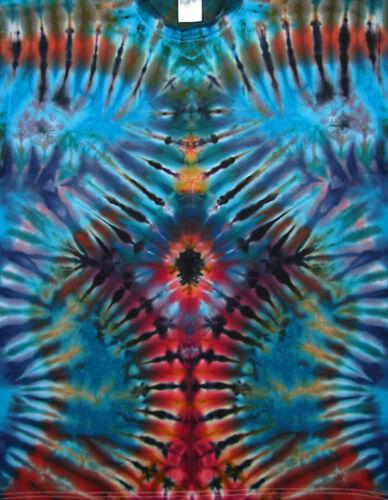 T-Shirt Gr.S 5XL kurzarm handgefärbt Hippie Tie dye Batik Flower Power Goa NEU