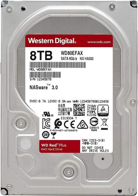 HARD DISK 3,5 WESTERN DIGITAL RED 8TB SATA3 5400rpm 256MB WD80EFAX PER NAS