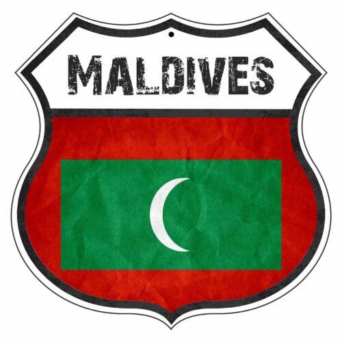 Maldives Country Flag Novelty Highway Shield Man Cave Aluminum Metal Sign