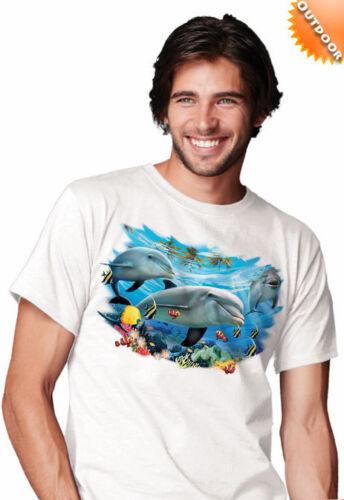 New solar tran unisexe natation dolphin amis print t shirt change couleur