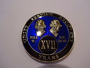 AA Blue//Red 30 Day Coin Tri-Plate Alcoholics Anonymous Medallion+Stand