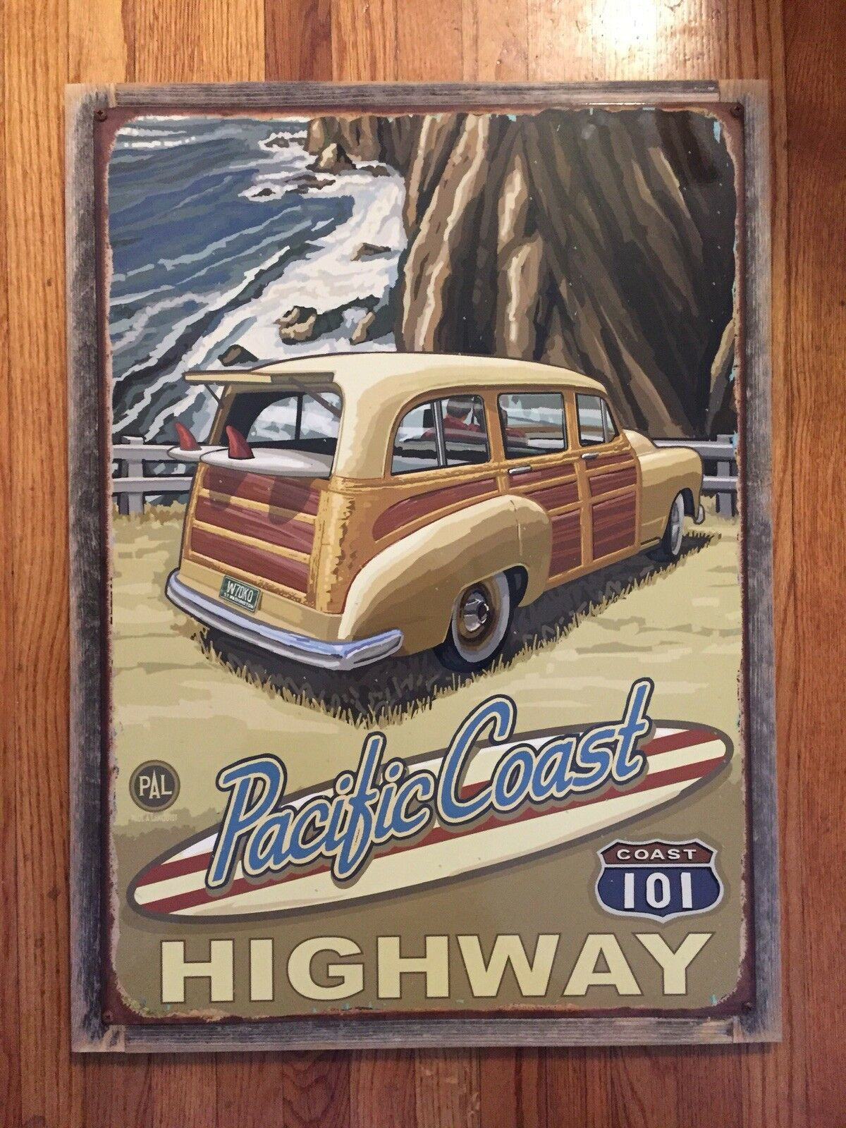 PCH Pacific Coast Highway California Surf Surfing Woodie Vintage Framed Steel Po