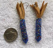 Native American Beaded Indian CORN earrings pierced dark blue BLUE CORN Chippewa