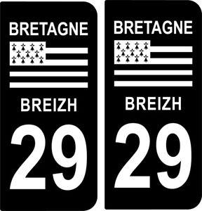 4 STICKERS PLAQUE IMMATRICULATION DEPARTEMENT 29 REGION BRETAGNE