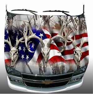 Snow Camo American Flag Deer Skull Hunting Hood Wrap