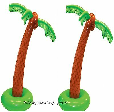 2 x 6ft Inflatable Blow Up Palm Tree Hawaiian Tropical Beach Party Decorations
