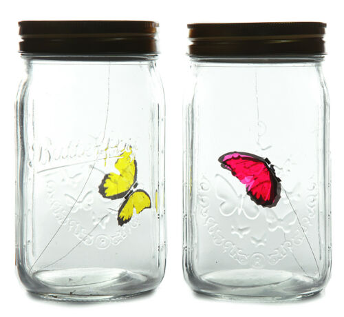 Täuschend echt flatternder Schmetterling im Glas Fliegt durch Klopfen+Geräusch