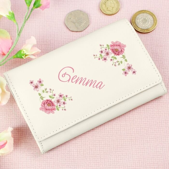 PERSONALISED Purse - Floral Girls, Ladies Name. GENUINE LEATHER. Cream/Pink.