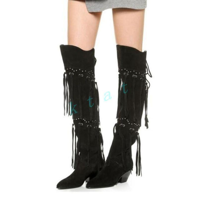 Europe Womens Suede Chunky Heel Tassel Fringe Zipper Knee High Boots Punk shoes