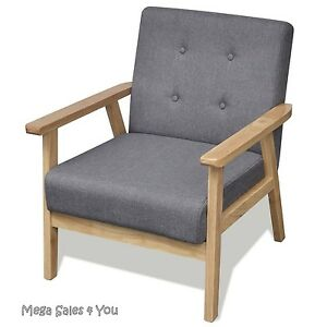 Retro Wooden Armchair Reclining Grey Chair Relax Seat