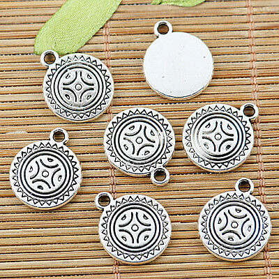 10pcs Tibetan silver sun round charm pendants EF1364