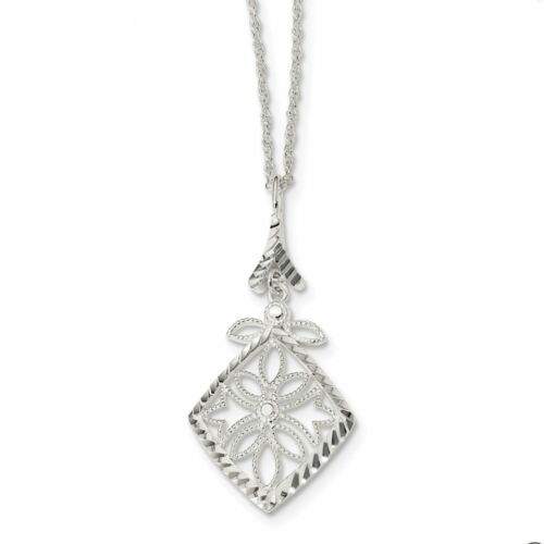 """Details about  /Sterling Silver Textured Diamond Cut Necklace 17/"""" MSRP $94"""