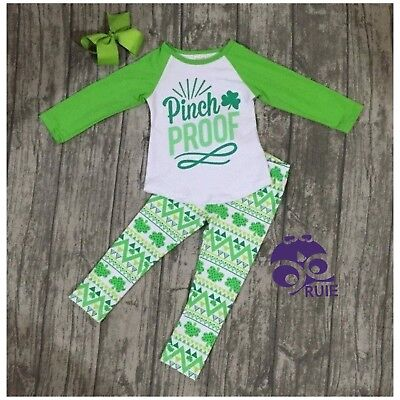 "958bfbd7bb731 St Patrick's Day Infant Girl ""Pinch Proof"" Shamrock leggings Outfit 6 - 12  Month"