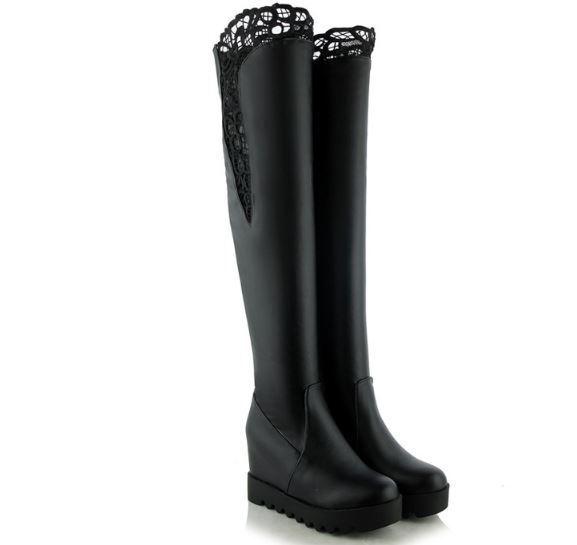 Bottes cuisse femme compensé hauts 9 cm noir confortable chaud comme cuir 8505