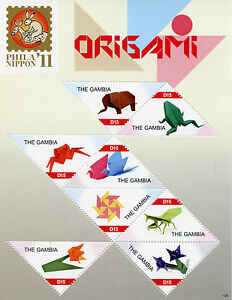 Gambia 2011 MNH Phila Nippon '11 Origami 8v MS Birds Frog Elephant Crafts Stamps