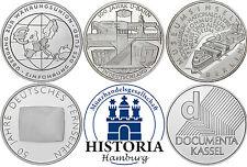 Deutschland 5 x 10 Euro Gedenkmünzen 2002 bfr Komplettserie aller 5 Silbermünzen