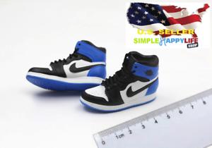 1//6 Hommes Bleu Blanc Baskets Chaussures de basket-ball creux pour HOT TOYS PHICEN ❶ USA ❶