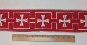 Vintage-Casula-Bianco-Croce-su-Rosso-10-8cm-Bendaggio-Venduto-da-da-Campo