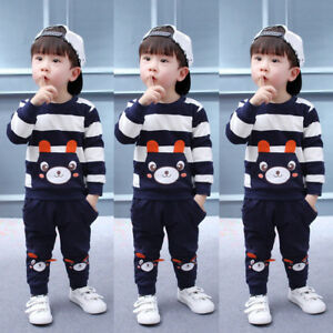 2pcs Baby Boys Kids Casual Clothes T-shirt Tops+Long Pants Trousers Outfits Sets