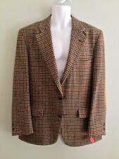 Norm Thompson Wool Jacket Sport Coat Balzer Brown Plaid Tweed Leather Mens