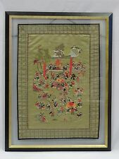 JIAQING STYLE FRAMED CHINESE 100 CHILDREN SILK EMBROIDERED PANEL UNDER GLASS