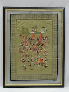 ANTIQUE-JIAQING-STYLE-CHINESE-100-CHILDREN-SILK-EMBROIDERED-PANEL-UNDER-GLASS