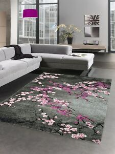 designer teppich kurzflor blumen grau pink rosa ebay. Black Bedroom Furniture Sets. Home Design Ideas