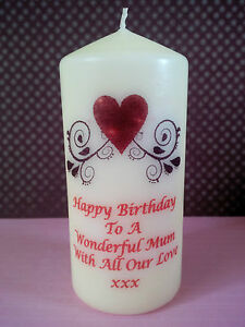 mothers day personalised candles mum mother gran nan aunty